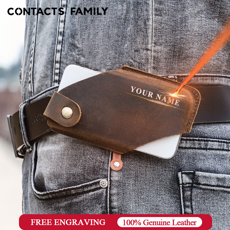 CONTACT'S FAMILY 100% Genuine Leather Men Cellphone Loop Holster Case Belt Waist Bag Phone Wallet Anti-theft Portable Wallet