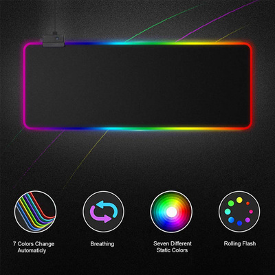 High Quality LED Illuminated Mouse Pad 15colors RGB Illuminated Gaming Mouse Pad With 1 / 4Hub Interface