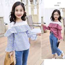 New Girl Shirts 2019 Spring Summer Fashion Red Blue Striped Baby Girls Lace Blouses Cute Long Flare Sleeve Ruffle Tops