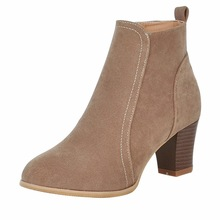 Litthing Women Ankle Boots 2019 fashion suede leather boots high heel ladies