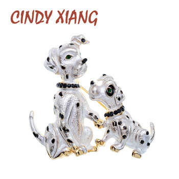 CINDY XIANG New Arrival Enamel Mom And Kids Dog Brooch Cute Animal Pin Small Puppy Brooches 2 Colors Available
