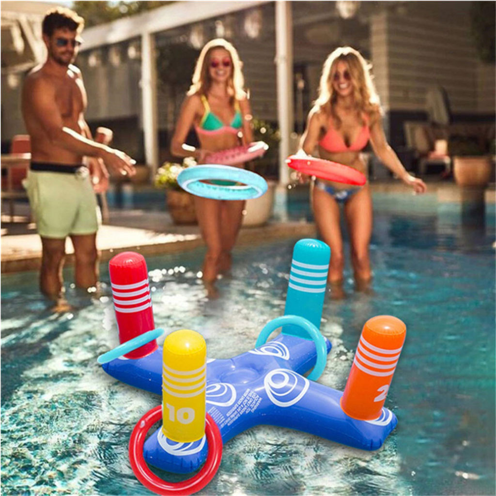 Floating Swimming Pool Ring Inflatable Ring Toss Pool Game Toys Floating Swimming Pool Ring With 4Pcs Rings Funny Water Fun Play| |   - AliExpress