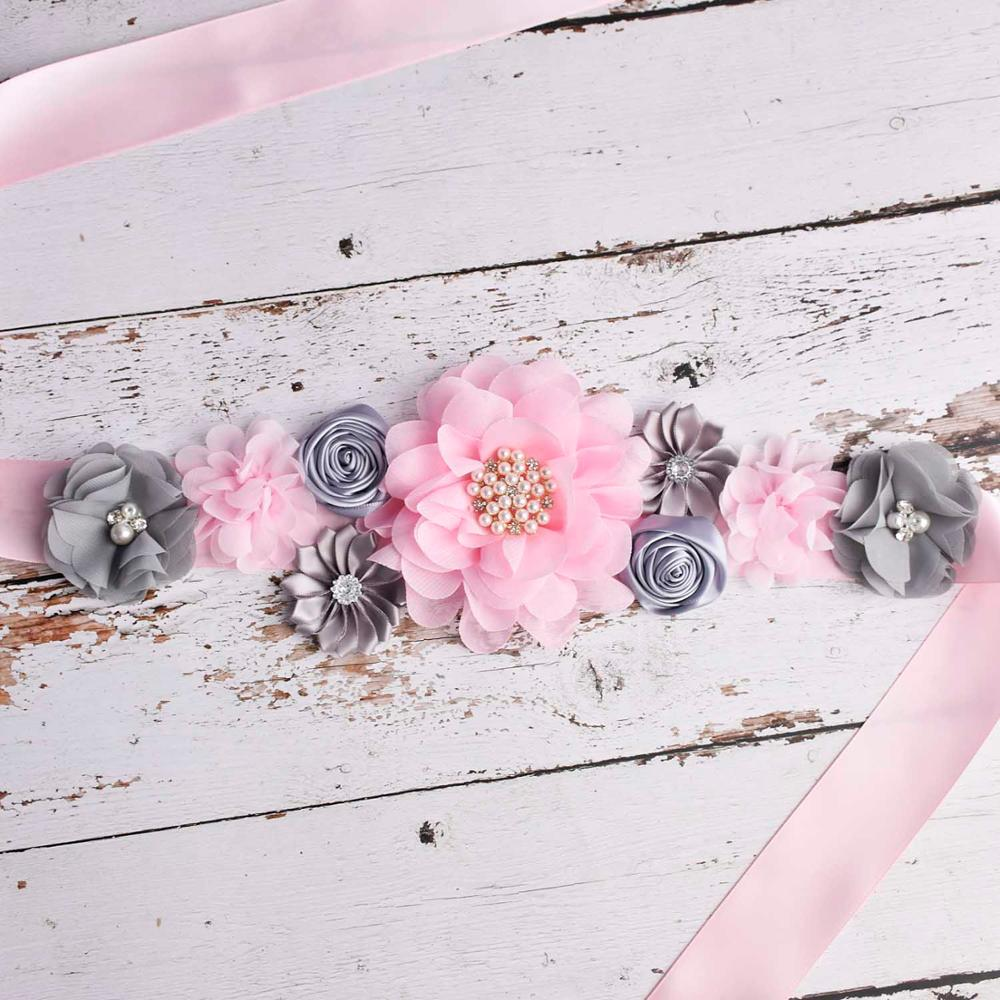 Pink/Grey Bridal Floral Belt Maternity Sash Pregnancy Belly Belt Baby Shower Party Decorations Supplies Photo Prop