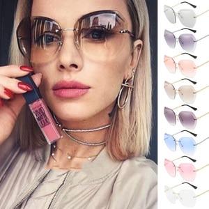 2020 New Fashion Brand Design Vintage Rimless Pilot Sunglasses Women Men Retro Cutting Lens Gradient Sun Glasses Female UV400