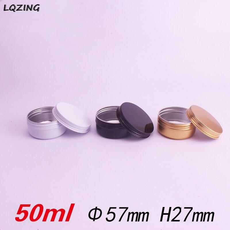 20pcs/lot 50ML Aluminum Cream Jar Pot Nail Art Makeup Lip Gloss Empty Cosmetic Metal Tin Containers Black/Gold/White
