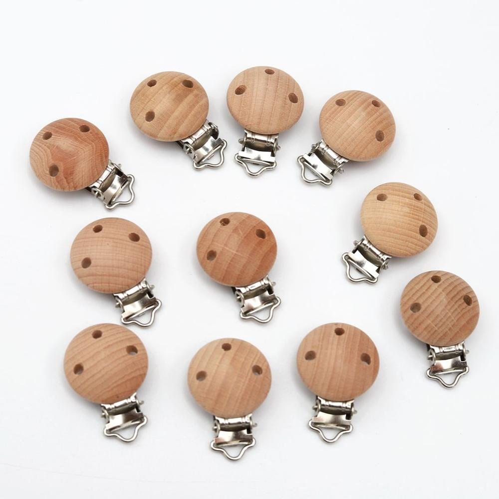 5/8pcs Baby Wooden Clips Baby Pacifier Dummy Clip Holder Solid Color Natural Wood Baby Feeding Accessories Soother Clasp Metal