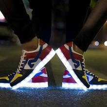 7 цветов светодиодный светящиеся ботинки унисекс повседневная