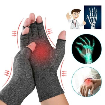 Joint Protection Half Finger Pressure Gloves Arthritis Compression Gloves Outdoor Sports Riding Glove Fishing Cycling Protective outdoor cycling riding half finger gloves blue pair size xl