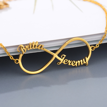 Customized Infinity Name Bracelet Silver Gold Chain Stainless Steel Custom Couple Jewelry For Women Men Personalized Nameplate B personalized custom infinite name bracelet silver gold chain stainless steel nameplate charms couple jewelry for women men