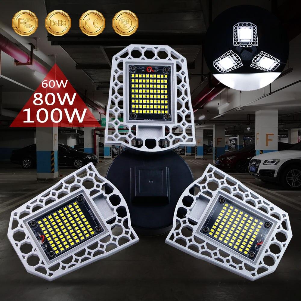 UFO LED Lamp E27 LED Bulb 60W 80W 100W High Bay Light 220V E26 Garage Light LED Deformable Lamp Factory Industrial Lighting 110V
