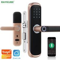 RAYKUBE Tuya Fingerprint Door Lock Smart Card / Digital Code / Keyless Electronic Lock Home Office Security Mortise Lock X3
