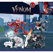4pcs Avengers 4  Super Heroes Spider Man Venom Faimly Building Blocks Bricks Boy Toys B600