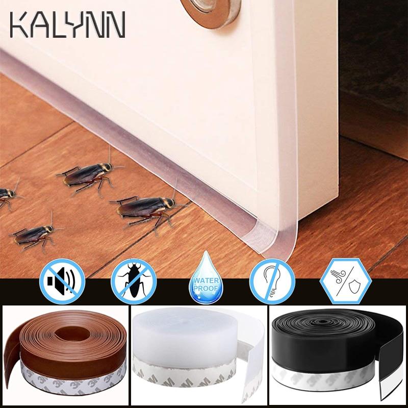 Black 1M/5M Length Window Door Bottom Self Adhesive Silicone Rubber Seal Weathering Strip Door Sealing Bar Window Sealing Tape 2