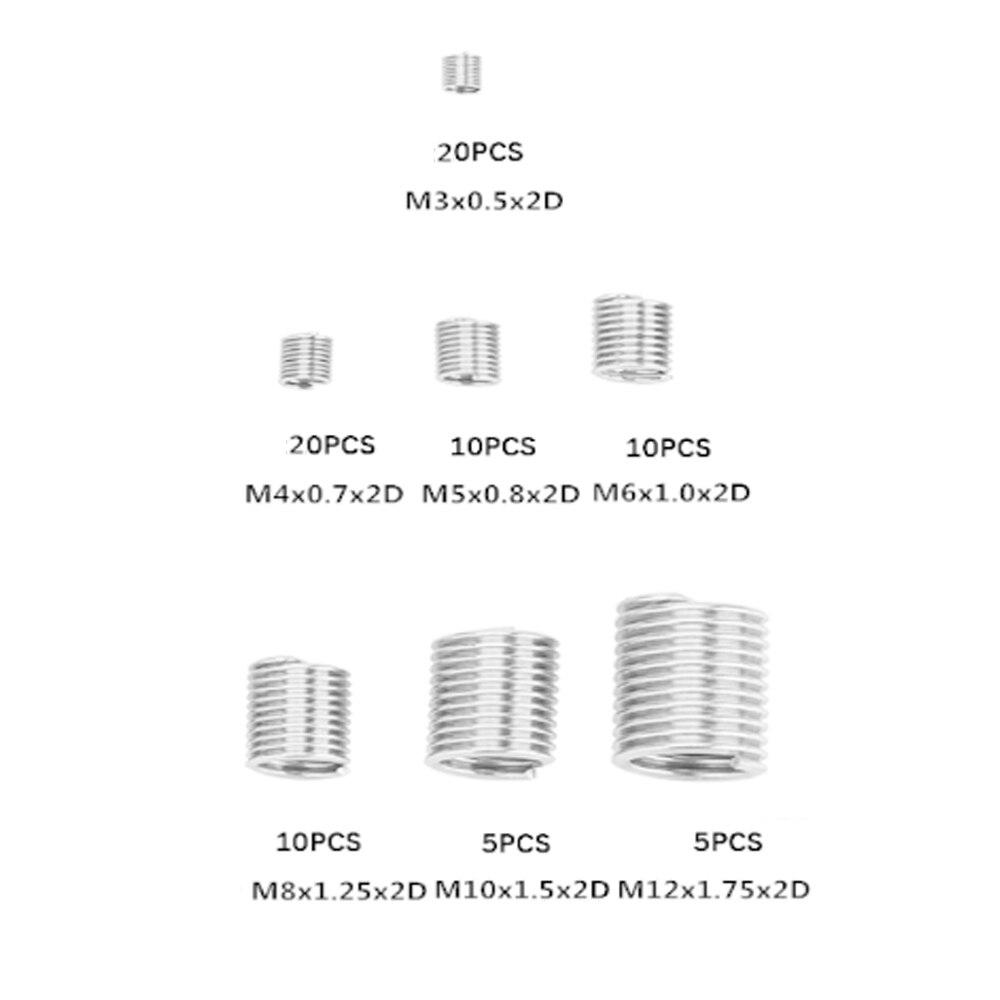 80 шт. Серебряный M3 M12 2D 304 Набор для ремонта резьбы вставка с резьбой набор rosca helicoil из нержавеющей стали для ремонта оборудования|Резьбовые вставки|   | АлиЭкспресс - Втулка резьбовая на Алиэкспресс