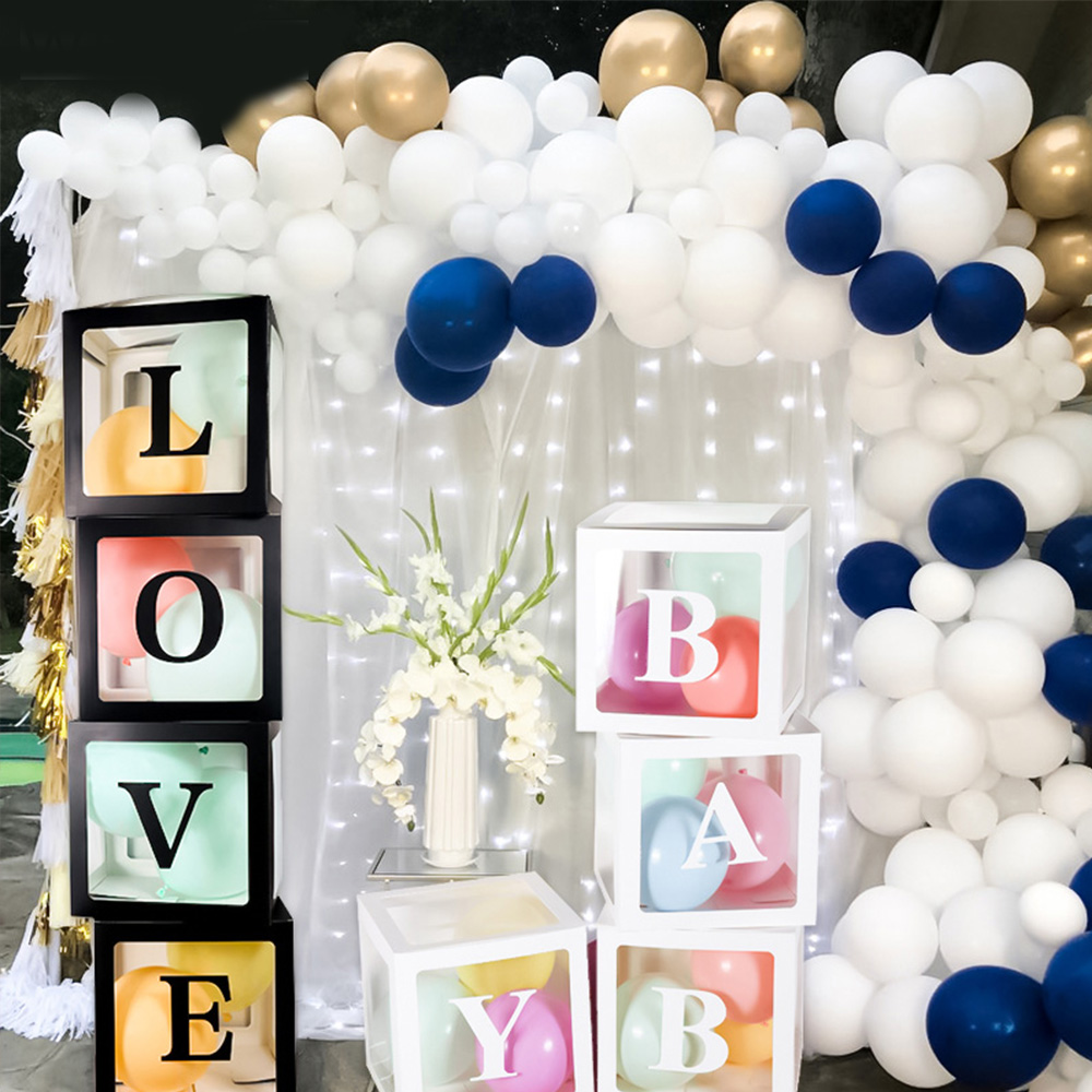 4PCS/Lot Big Cube Balloon Box Plastic Gift Boxes DIY Brick For Baby Shower Birthday <font><b>Party</b></font> Supplies Wedding <font><b>Decoration</b></font> <font><b>30</b></font>*<font><b>30</b></font>*30cm image