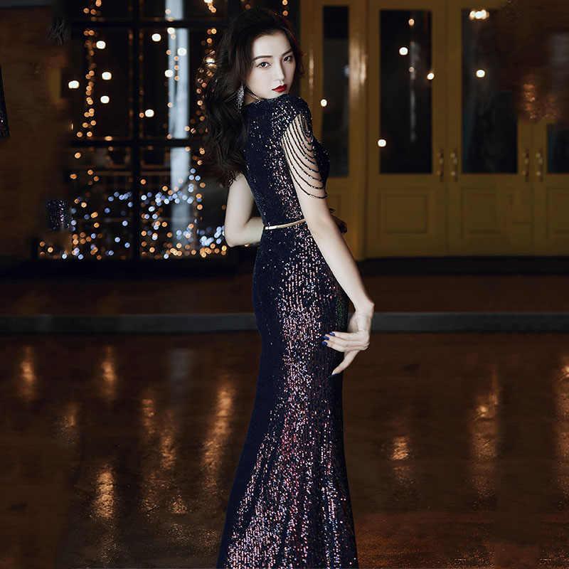 It's Yiiya ชุดราตรีสีฟ้า Shining Sequined Evening Dresses ชุดอย่างเป็นทางการ Mermaid Long แขนสั้น Robe de Soiree k047