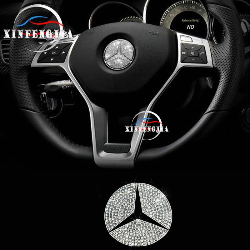لمرسيدس بنز CLA GLA A B C E ML GL GLK فئة الكريستال نمط عجلة القيادة شعار غطاء الكسوة