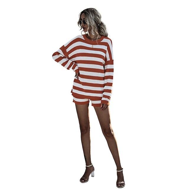 Купить модный костюм женский осенне зимний стиль пуловер контрастных картинки цена