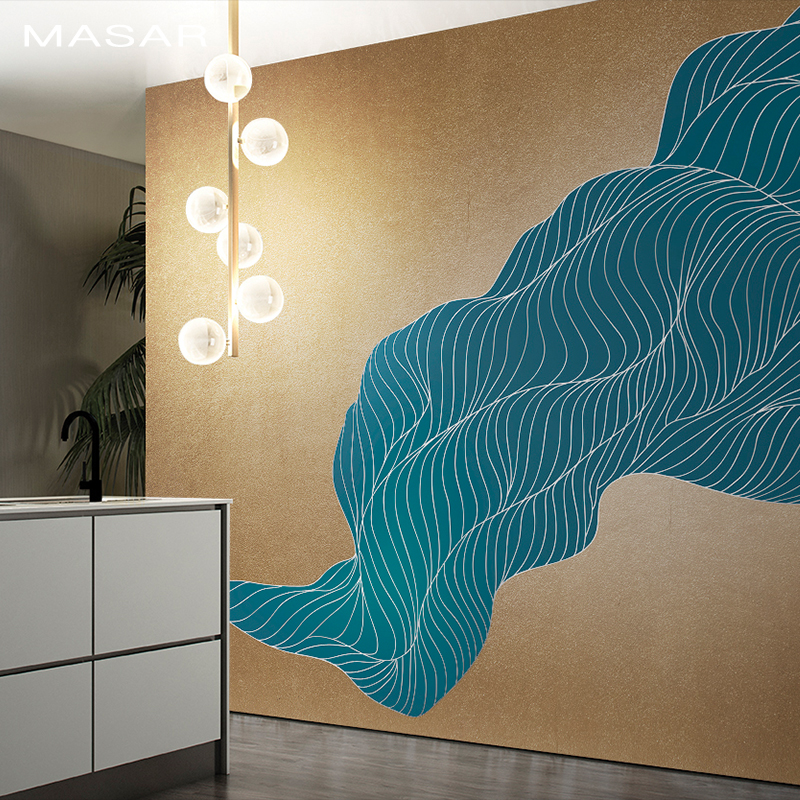 MASAR Original Blue Abstract Wall Painting Loft Wallpaper Simple Bedroom Living Room Background Wallpaper Space