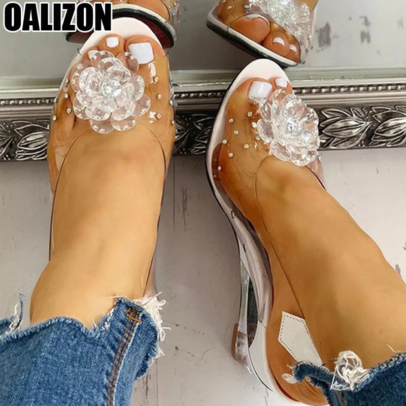 Plus Size Dropship PVC Sandals Women Pointed Clear Crystal High Heel Sexy Wedge Pumps Summer Shoes Peep Toe Women Pumps Shoe R79