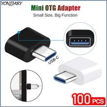 100Pcs Groothandel Mini Usb Type C Otg Adapter Voor Samsung Xiaomi Huawei Otg Data Converter Voor Macbook Tablet Android connector