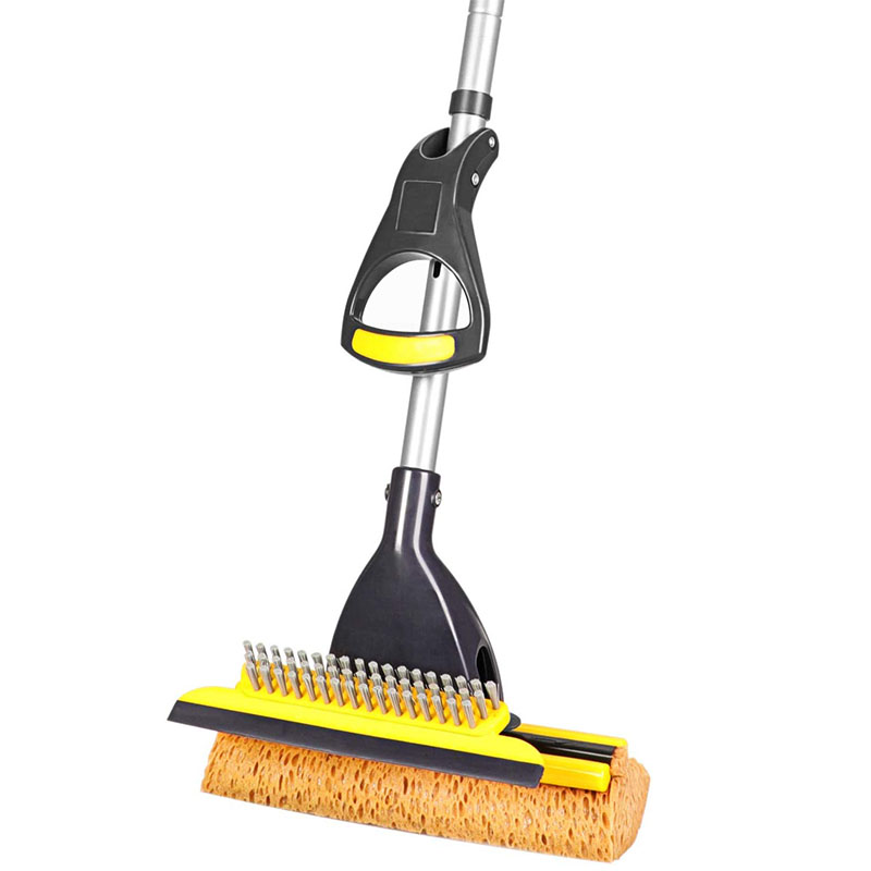 cleanhome Sponge Mop Home Commercial Use Tile Floor Mops Bathroom Garage Cleaning with Squeegee and Extendable Telescopic