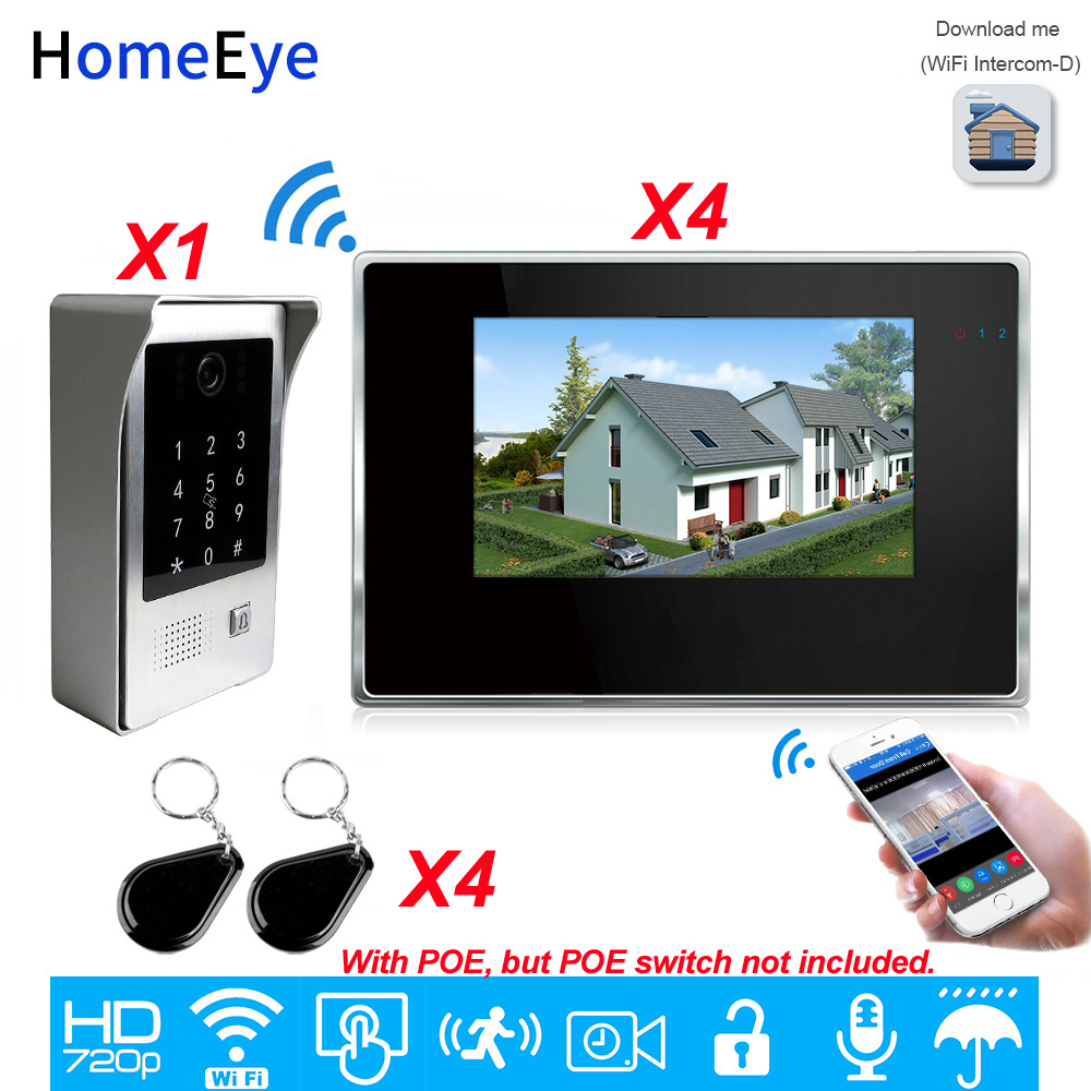 IP Video Intercom System 720P Wifi Video Door Phone 7'' Touch Screen Mobile App/Password/IC Card Unlock Security Access Control
