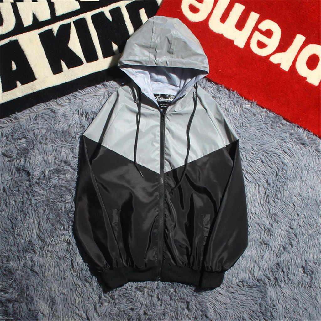 Feitong Riflettente Felpe Jacket Uomo donna Harajuku Cappotto Giacca A Vento Con Cappuccio Streetwear jaqueta masculina