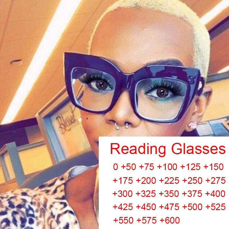 Gafas de lectura grandes para hombre y mujer, lentes de lectura grandes para presbicia en ordenador, con dioptrías cuadradas gruesas de gran tamaño de 0 a + 6,0