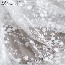 1yard High-grade cotton embroidery mesh lace fabric Soft yarn diy dress skirt material clothing wedding home decoration
