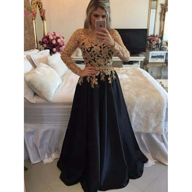 Black Appliques Lace Satin Long Sleeve Evening Dresses 2019 New Women Muslim Dubai Saudi Arabic Elegant Formal Party Prom Gowns