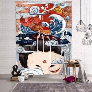 Image 5 - Japonais Kanagawa vagues imprimé tapisserie suspendue baleine Arowana cerf serpent Totem tenture murale tapisseries Boho couvre lit couverture