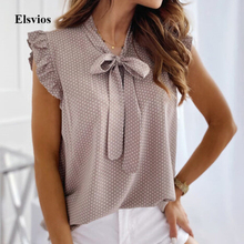 Office Lady Bowknot Bandage Blouse Elegant Ruffle Butterfly