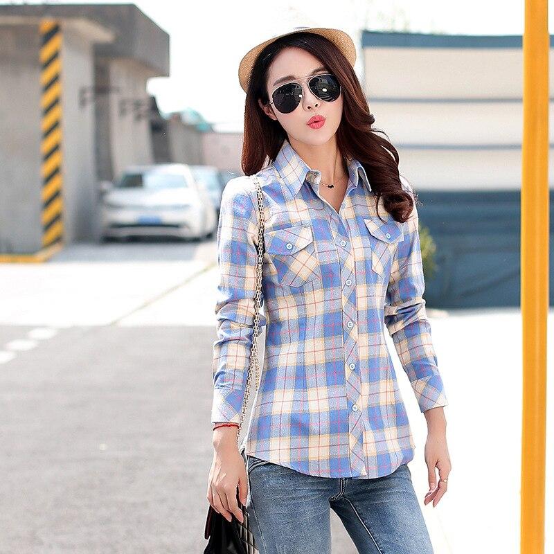 Autumn Spring Blouses Fashion Turn Down Collar Cotton Tops Women's Plaid Shirt Office Work Slim Long-Sleeve Shirts Blusas Mujer 11