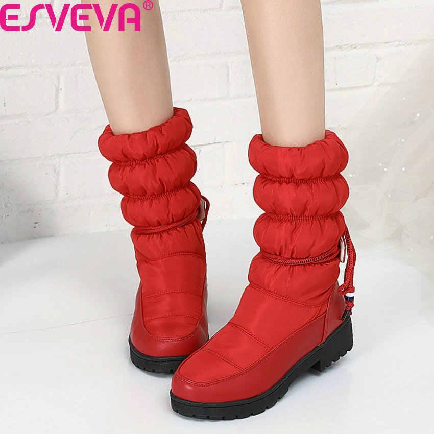 ESVEVA 2020 aşağı PU deri yuvarlak Toe Platform kış orta buzağı botları sıcak kürk kare topuk Lace Up Casual kadın ayakkabı boyutu 34-43