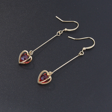 New fashion jewelry red nature stones long hook earrings handmade Three-dimensional love heart shaped red glazed simple earring