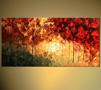 Huge Wall Art Palette Knife Texture Oil Painting Abstract Tree Canvas Landscape Painting Wall Art Oil Paint Cheap Modern Art Pai