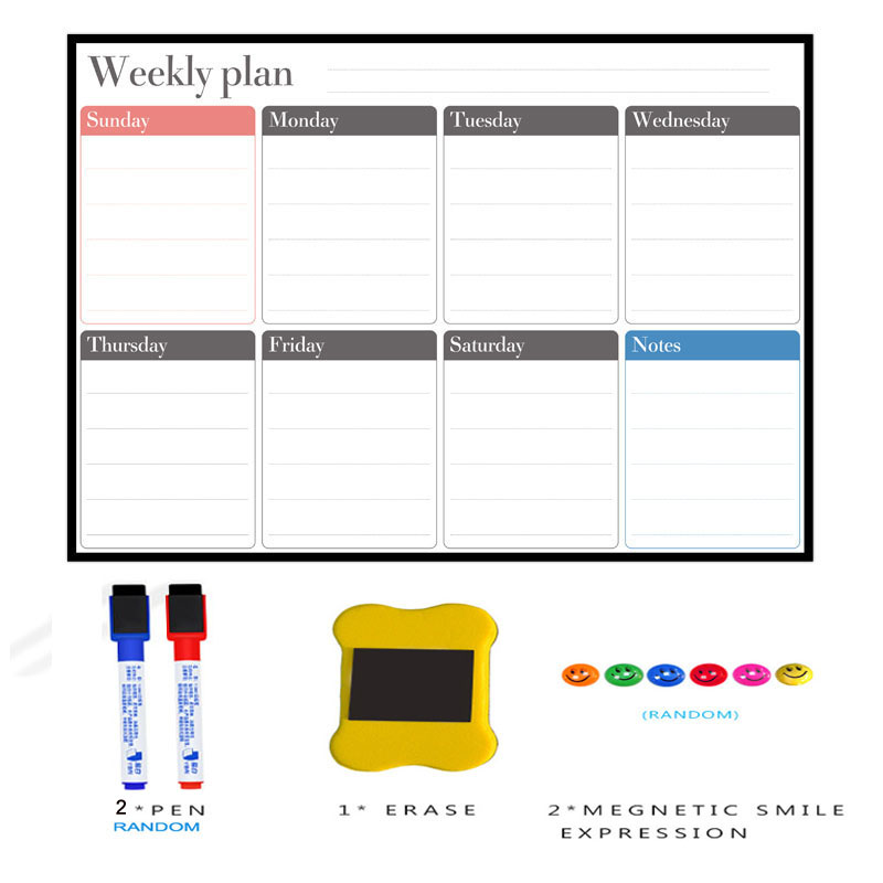 YIBAI A3 Whiteboard Magnetic Calendar Weekly Magnet Planner Drawing Refrigerator White Board Memo Boards Fridge Home School Use