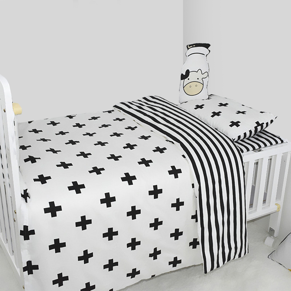 3Pcs <font><b>Baby</b></font> <font><b>Bedding</b></font> <font><b>Set</b></font> <font><b>Baby</b></font> Crib <font><b>Bedding</b></font> <font><b>Set</b></font> Cotton White Stripe Pattern <font><b>Baby</b></font> Cot Including Duvet Cover Pillowcase Sheet image