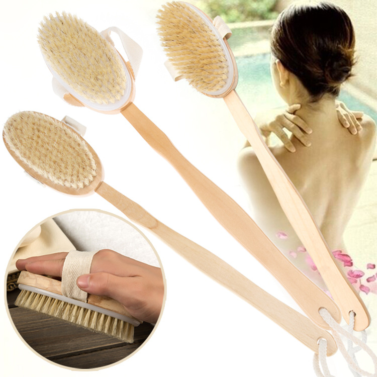 1Pc Bath Brush Long Wood Handle Reach Back Body Shower Natural Bristle Scrubber Spa Bathroom For Dry Brushing And Shower Tool