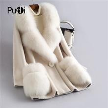 H628 PUDI 女性の冬の本物のウールの毛皮のコートフォックス毛皮の襟新ウォームジャケット女性のコートジャケットオーバーコート