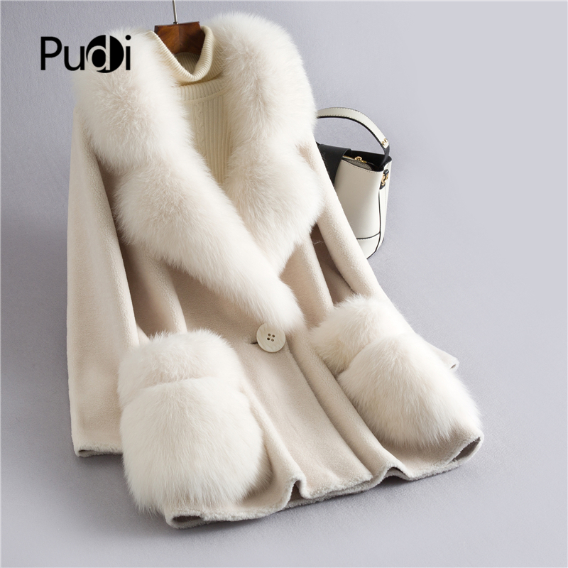 PUDI  Women's Winter Real Wool Fur Coat With Fox Fur Collar New Warm Jacket Coat Lady Long Coats Jacket Overcoat H628