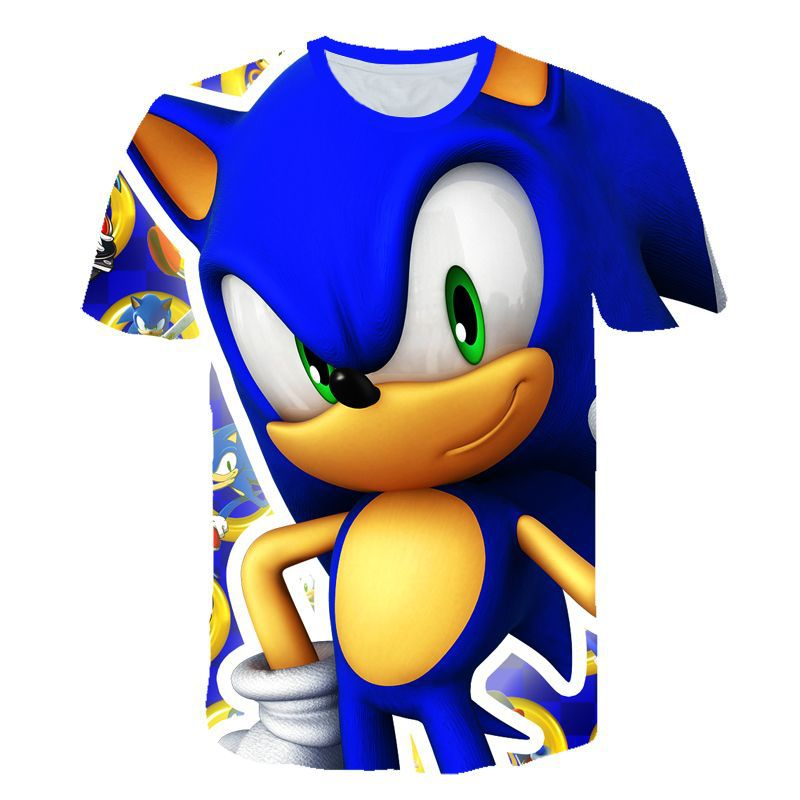 New Sonic Harajuku 3D Kids T-shirt Soft Round Collar Sonic Cartoon T Shirt Kpop Casual Boys/ Girls Love Fashion New Clothes