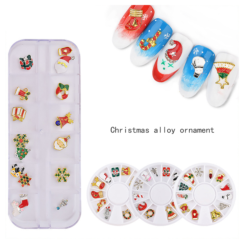 12 Pack Alloy Rhinestones Decorate Your Nail Manicure Christmas Stickers Turntable Snowman Santa Gift