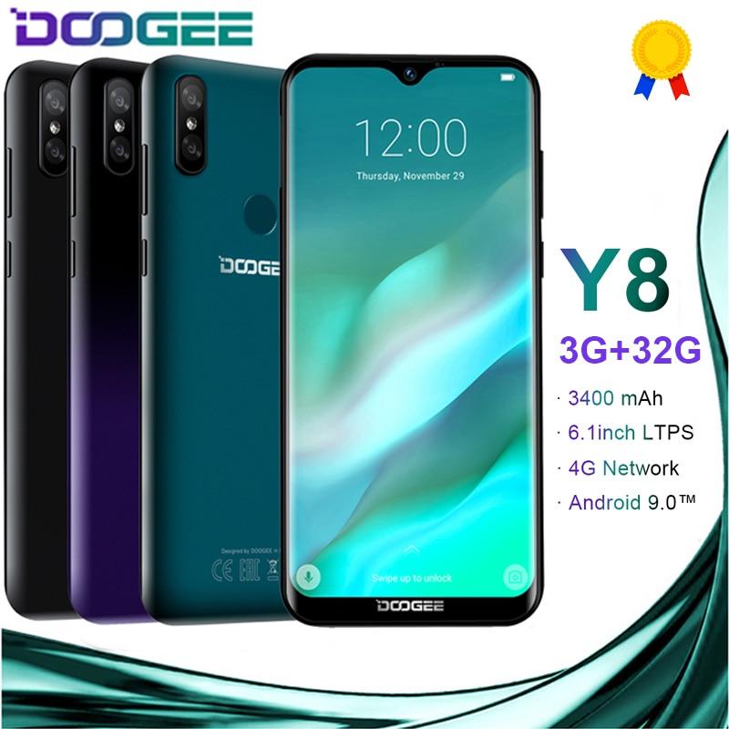 Doogee y8 android 9.0 4g lte 6.1 polegada 19:9 waterdrop ltps tela smartphone mtk6739 3 gb ram 32 gb rom 3400 mah duplo sim 8.0mp