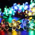 Luz solar do diodo emissor de luz solar flor pêssego energia da lâmpada solar led string luzes de fadas guirlandas solares jardim decoração de natal para ao ar livre