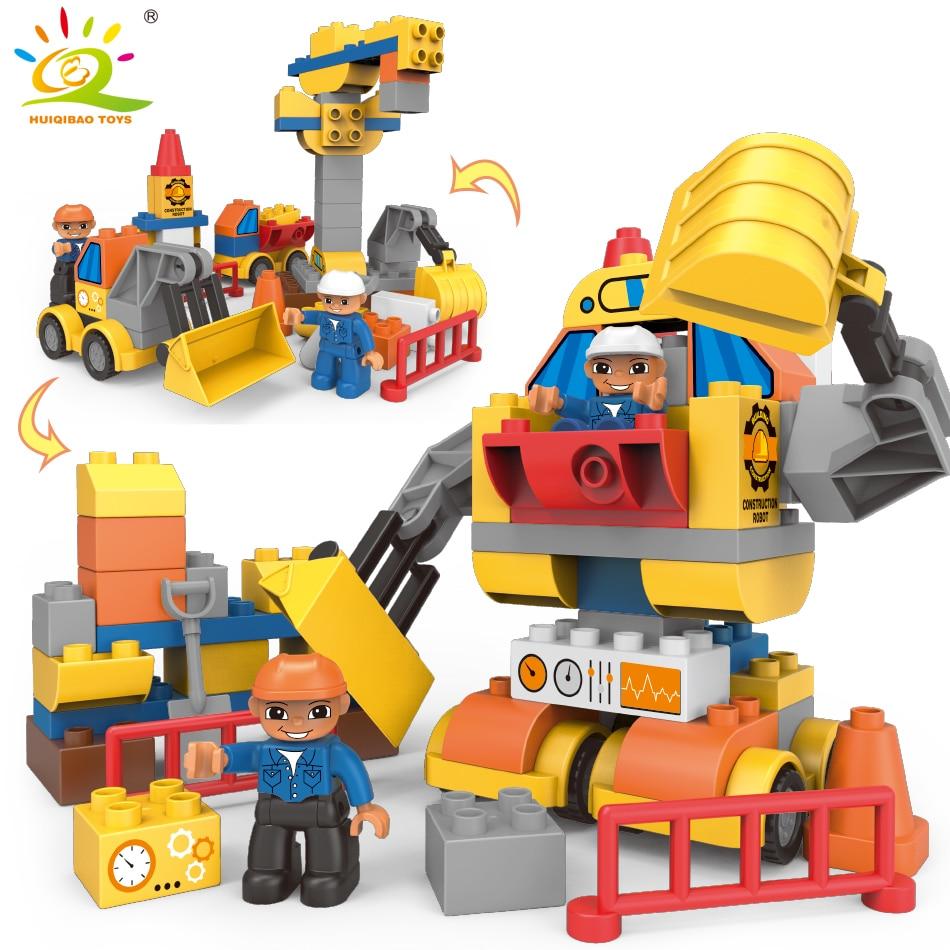 63pcs Transform Engineering Bulldozer Robot Big Size Building Blocks Compatible Legoing Duploe City DIY Bricks Toys For Children