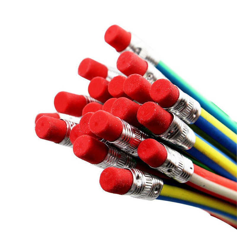 Lápis macio bendy flexível colorido, lápis de borracha para estudantes, material de escritório, cor aleatória