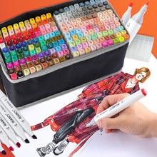 12/48/80/168 toque riancy marcadores definir manga desenho marcadores caneta álcool baseado esboço feltro-ponta twin escova caneta arte suprimentos 04379
