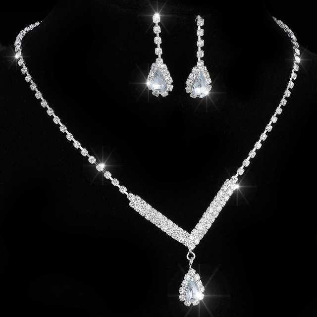 Conjunto de joyería africana de tenis de cristal en tono plateado, pendientes, joyería y Collar para boda, dama de honor, juegos de joyas para mujer, collar 6